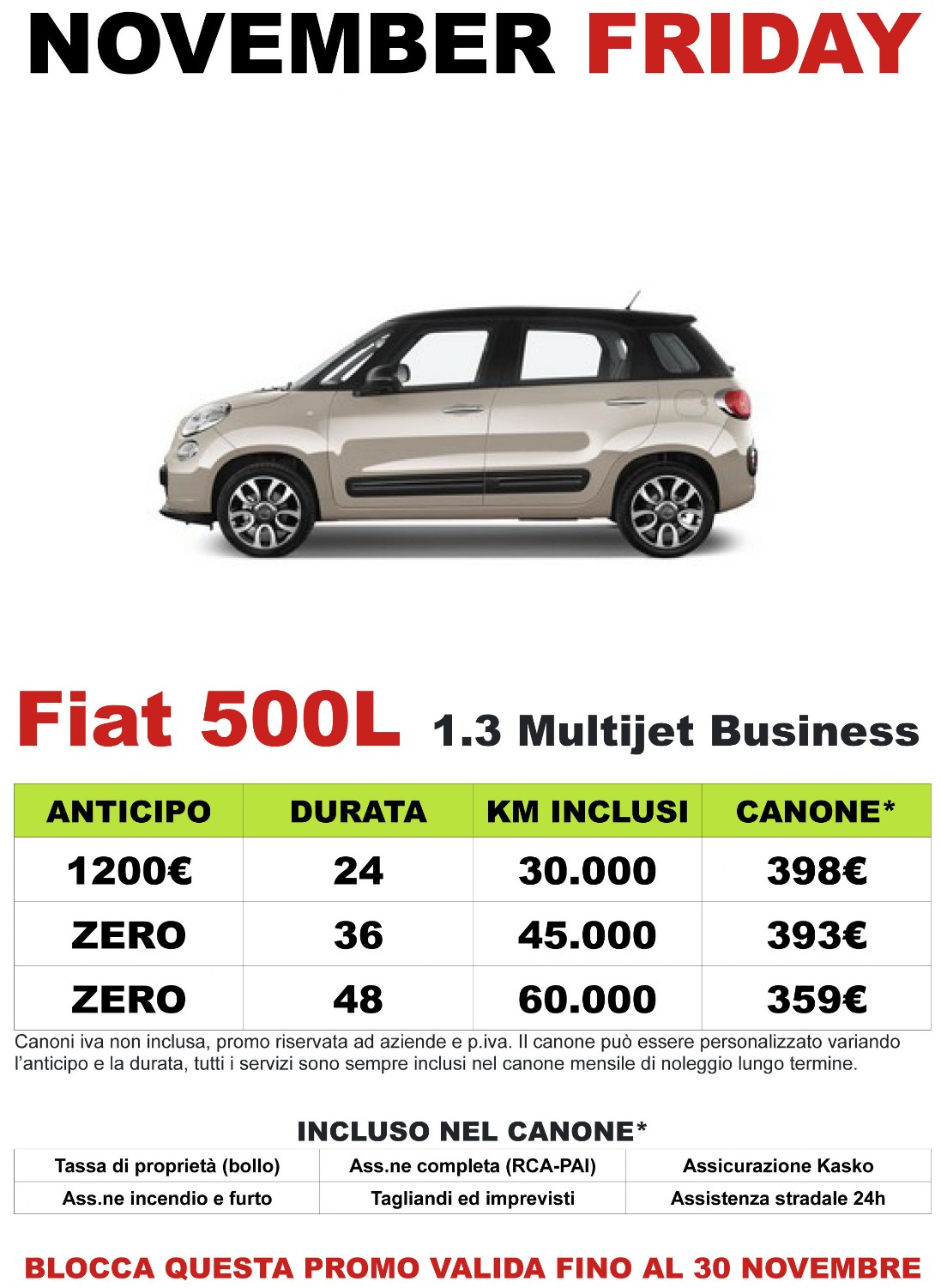 November Friday sconti FIAT 500L